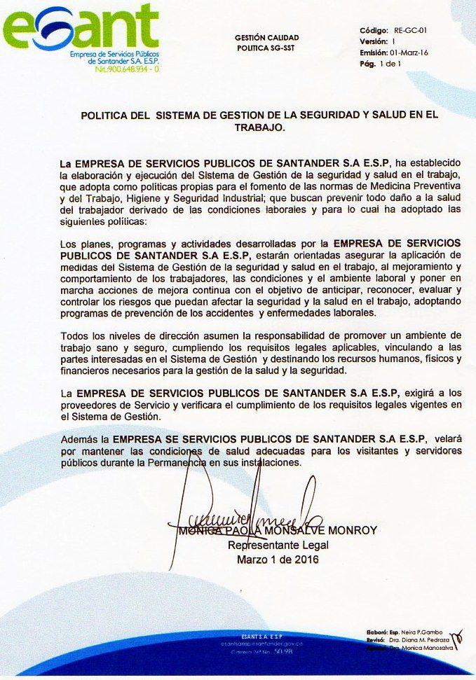 POLITICA ACTUALIZADA SG-SST